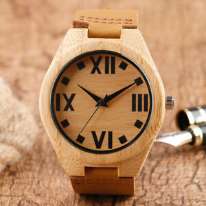 Casual Bamboo Wooden Watch Men's Analog Quartz Wood Watches Brown Leather Strap