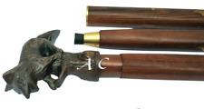Antique Style Walking Stick Wooden Cane Dragon Handle Solid Wood Vintage Carved