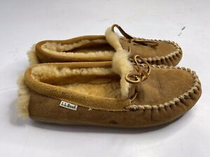 LL Bean Wicked Good Moccasins Slippers Brown Sheepskin Shearling Men's 9M