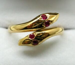 Beautiful High Carat Gold And Ruby Double Snake Ring Size P