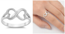Sterling Silver 925 INFINITY HEART LOVE DESIGN PROMISE RING 8MM SIZES 3-12