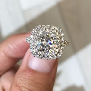 2.98 TCW Round Cut Moissanite Double-Halo Engagement Ring 14k White Gold Plated
