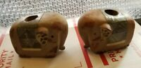 Vintage stoneware ceramic cute elephant pair taper candle holders