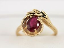 Ruby Solitaire Ring 14K Gold Ladies Stunning Size N 375 4g G83