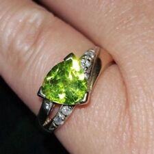 Genuine Peridot & Diamond Ring  - 9ct Yellow Gold  Size N