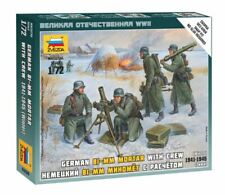 German  80mm Mortar With Crew Plastic Kit 1:72 Model ZVEZDA