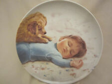 WAITING TO PLAY collector plate DONALD ZOLAN Boy w/ dog Golden CHILDREN AND PETS
