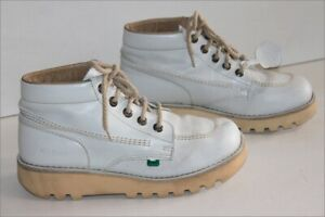Kickers Boots Booties Lace White Leather Soles Wedge T 40 Top Condition