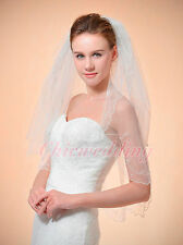 2T Ivory Pencil Scallop Edge Elbow Length Pearl Wedding Bridal Veil w/ Comb 32""