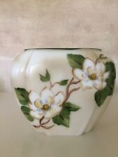 Phoenix Consolidated glass pillow vase with hand painted Magnolias