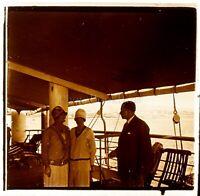 VOYAGE en Egypte Au bord d'un Paquebot c1925 Photo Stereo Vintage Plaque Verre