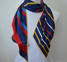 Vera Neumann Veresa 6 x 62 Striped Scarf Polyester Yellow Red Blue Long Vtg Mod