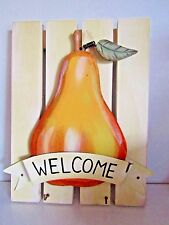 Vintage~Pear~Wood Wall Plaque~Metal Hooks 4 Keys~Super Cute~Kitchen Decor~Gift