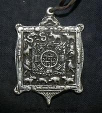 """3"""" Old Tibet Meteorite Iron 12 Zodiac Animal the Eight Diagrams Pendant Amulet"""