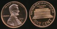 United States, 2001-S One Cent, 1c, Lincoln Memorial - Proof