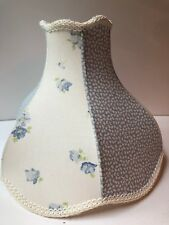 Laura Ashley Lamp Shade Blue White Flowers Floral Panel Braid Trim Cottage Style