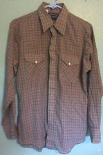 Vtg 70s Dee Cee Rangers Brown Plaid Mens Western Pearl Snap Shirt 15 M 15 1/2