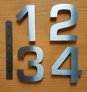 """4""""/10cm modern house/door numbers drill fit/stick-on 2mm brushed stainless steel"""