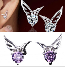 Womens Angel Wing Earrings 925 Sterling Silver Crystal Fashion Studs Jewellery