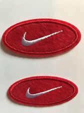"""2. Nike RED iron on PATCH -  patches new  Appx  2"""" X  1"""" Oval"""