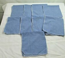 Cloth Napkins Blue Checked Lot of 9 Gingham Cotton