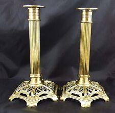Antique Lovely Pair Of Corinthian Column & Pierced Base Brass Candlesticks