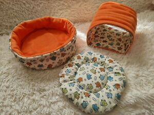 Cozy Cuddle Snuggle Cup Bowl Bed for GUINEA PIG removable pad & tunnel Washable