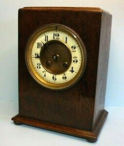 Antique French Oak Chiming Mantel Clock, Richard & Co, c.1880, Key Wind, 8 Day.