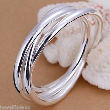 Silver 7cm wide Bracelet Bangle 3 circle Xmas Gift, Present, Party