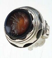 Antiker 900 Silber Ring um 1920 Karneol Intaglio Kriegsgott Mars RG 52/16,5mm