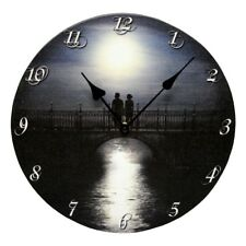 "Moonlit Night Wall Clock Battery Operated LED Flickering Lighted Canvas 12"" x 1"""