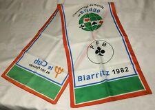 BIARRITZ, France, FFB, World Contract Bridge Championship 1982 Vtg Silk SCARF