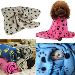EE_ GN- Pet  Kitten Dog Puppy Blanket Warm Beds Mat Cover Fleece Paw Print Re