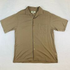 100% Washable Silk Short Sleeve Tan Button Down Shirt - Men's L Island Shores