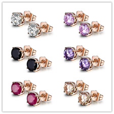 HUCHE Retro Rose Gold Filled Colorful Sapphire Diamond Studs Lady Party Earrings
