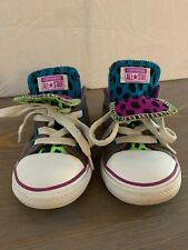 Kid's Grey With Colored Cheetah Converse All-Star Size 9 Double Tongue