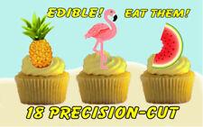 18 EDIBLE TROPICAL FLAMINGO / PINEAPPLE / MELON Cake Toppers, ~ PRECISION-CUT ~