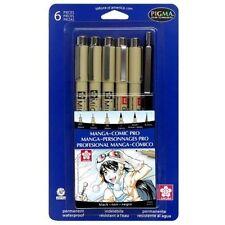 Sakura MAGNA-COMIC PRO Pens 6 pc ALL BLACK #50201 Sizes 005 03 08 1 PIGMA MICRON