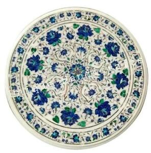 White Marble Custom Dining Table Top Inlaid Lapis Lazuli Marquetry Floral Art