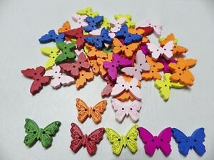 50pcs Wooden 22mm 2-hole Sew On Buttons: dress/card making BUTTERFLY Mixed cols