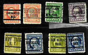 Washington Franklin Precancel Collection CAL NY MASS 1-9 Cent Untyped US G9
