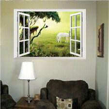 3D False Window White Horse Grassland Scenery PVC DIY Wall Sticker Muarl Decal