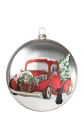 """Dogs, Christmas Tree in Red Truck Glass Disc Christmas Ornament  5"""" Diameter"""