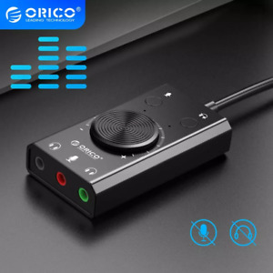External USB Sound Card to jack 3.5mm Cable Adapter Mute Switch Volume Adjustmen