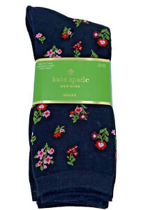 Kate Spade 3 pair black floral striped polka dot crew socks one size fits most