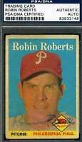 Robin Roberts Topps 1958 Psa/dna Coa Signed Original Authentic Autograph