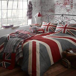 Union Jack Vintage British Flag Soft 100% Cotton Quilt Duvet Cover Bed Linen Set