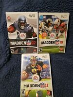 Madden NFL Football 07, 10, 11 Nintendo Wii Game Lot All CIB & Good Cond.
