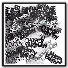 Happy Birthday Confetti Table Scatters Black and Silver Party Decorations