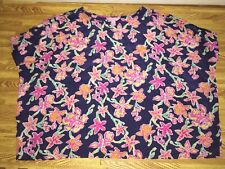Lilly Pulitzer Trace Cold Shoulder Top navy blue pink flowers sz XS 100% silk